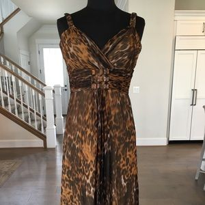Badgley Mischka Leopard Print Cocktail Dress